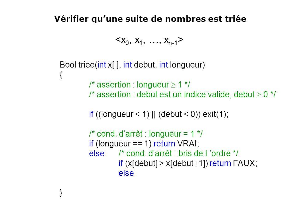 Bool triee(int x[ ], int debut, int longueur)